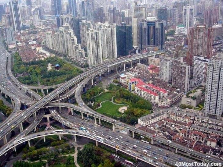 Una dintre cele mai complexe intersectii din China …